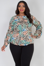 PLUS SIZE LONG GATHERED SLEEVE LEOPARD TOP