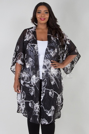 PLUS SIZE LONG SLEEVE FLORAL CARDIGAN
