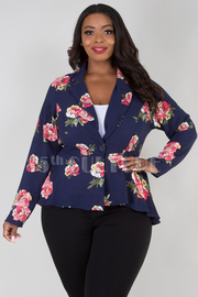 PLUS SIZE LONG SLEEVE FLORAL JACKET