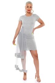 PLUS SIZE Round neck short sleeve mesh side flounce dress