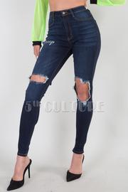 High Waisted Faux Front Pockets Leg Distress 2 Back Pockets Skinny Leg Jean