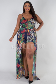 PLUS SIZE STRAP SHOULDER FRONT SLIT MAXI DRESS ROMPER