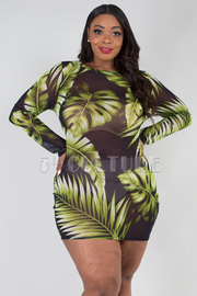 PLUS SIZE BOAT NECK LONG SLEEVE SHEER MINI DRESS