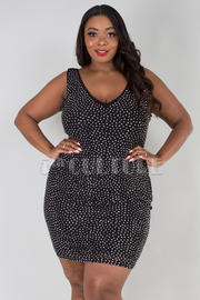 PLUS SIZE V-NECK SLEEVELESS BEADS MINI DRESS
