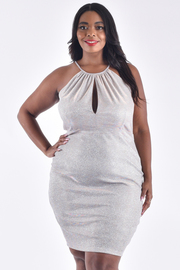 PLUS SIZE STRAP SHOULDER CUT-OUT DETAIL METALLIC DRESS