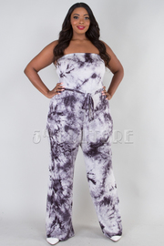 PLUS SIZE TIE DYE STRAP BELT JUMPSUIT
