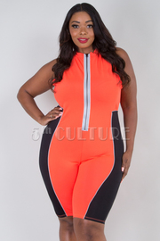 PLUS SIZE ZIP UP HIGH NECK SLLEVELESS  ROMPER