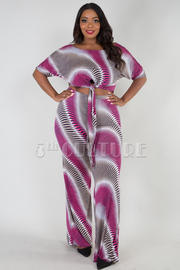 PLUS SIZE GEOMETRICAL LONG BOW TIE CROP TOP AND PANTS SET