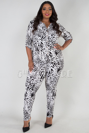 PLUS SIZE LEOPARD BUTTON UP COLLAR TOP AND LEGGINGS SET