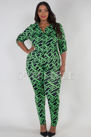 PLUS SIZE GEOMETRICAL BUTTON UP COLLAR TOP AND LEGGINGS SET