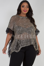 PLUS SIZE ROUND NECK RUFFLED SHORT SLEEVE MESH TOP