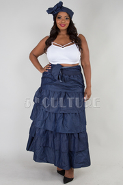PLUS SIZE RUFFLED LAYERS SKIRT WITH HAIR WRAP