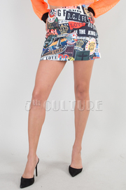 SCRIPT PRINTED MINI SKIRT