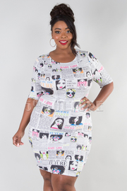 PLUS SIZE ROUND NECK SHORT SLEEVE CARTOON FITTED MINI DRESS