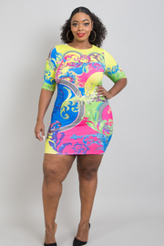 PLUS SIZE Round neck short sleeve fitted mini dress