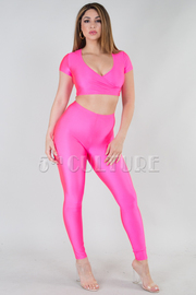 SHINY OVERLAP FRONT CROP TOP AND LEGGINGS SET