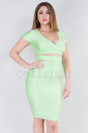 SHINY OVERLAP FRONT CROP TOP AND SKIRT SET