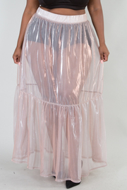 PLUS SIZE SEE-THROUGH WITH LUREX SKIRT