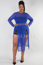 PLUS SIZE ROUND NECK LONG SLEEVE TWO SLITS SHEER TOP