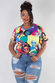 PLUS SIZE ROUND NECK SHORT SLEEVE FACES CROP TOP
