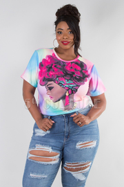 PLUS SIZE ROUND NECK SHORT SLEEVE TIEDYE FACE