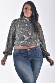 PLUS SIZE MOCK NECK LONG SLEEVE ANIMAL PRINTED CROP TOP