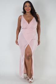 PLUS SIZE Sleeveless cross over front long dress