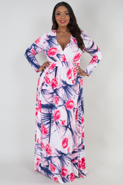 PLUS SIZE Deep v neck long sleeve with 2 slits on front printed dress