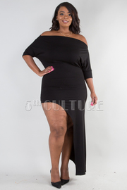 PLUS SIZE ONE SHOULDER ASSYMETRIC MAXI DRESS