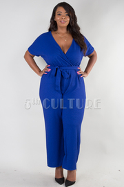 PLUS SIZE SHORT SLEEVE BELTED SOLID JUMPSUIT
