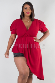 PLUS SIZE OVERLAP FRONT PUFF SLEEVE ASSYMETRICAL TOP