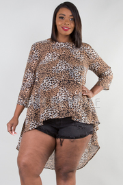 PLUS SIZE 3/4 SLEEVE SHEER HIGH LOW TOP