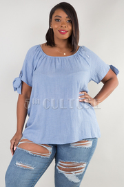 PLUS SIZE WIDE NECK SHORT SLEEVE WITH BOW TIE TOP