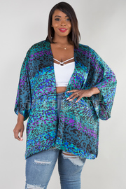 PLUS SIZE 3/4 SLEEVE SHINY OPEN JACKET