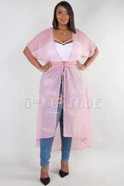 PLUS SIZE STRAP BELT SEE THROUGH CARDIGAN