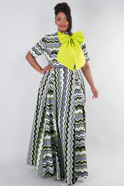 PLUS SIZE Elegant multi striped maxi dress with ribbon point