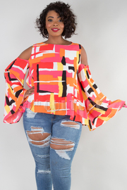 PLUS SIZE WOUND NECK COLD SHOULDER LONG SLEEVE PRINTED TOP