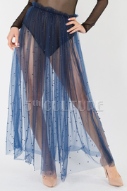 Pearl trim see through sheer skirt