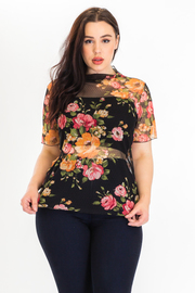 PLUS SIZE HIGH NECK SHORT SLEEVE SEE THROUGH TOP