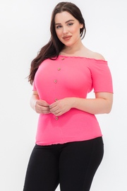 PLUS SIZE OFF SHOULDER SHORT SLEEVE FITTED TOP