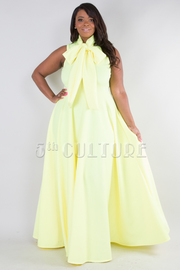 SLEEVELESS WITH BOW SOLID MAXI DRESS