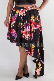 PLUS SIZE ASYMMETRICAL FLORAL PRINTED FLARED SKIRT