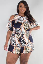 PLUS SIZE COLD SHOULDER RUFFLE SLEEVE ROMPER