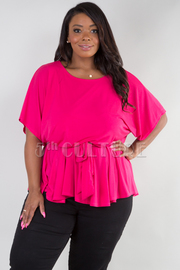 PLUS SIZE ROUND NECK SHORT SLEEVE BELTED FLARE TOP