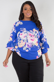 PLUS SIZE BOAT NECK RUFFLED SLEEVE FLORAL TOP