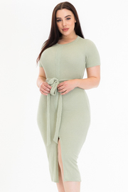 PLUS SIZE ROUND NECK FRONT SLIT BELTED NEAT DRESS