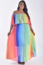PLUS SIZE Off shoulder rainbow maxi dress