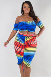 PLUS SIZE SHORT SLEEVE TUBE TOP AND SKIRT SET WITH DRAW STRING