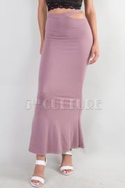 Side Cut Flare Bottom Midi Skirt