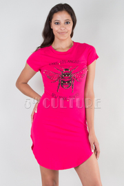 ROUND NECK SHORT SLEEVE BEE PRINTED FITTED DRESS